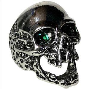 Gothic Punk Biker Green Eye Melting Skull Ring